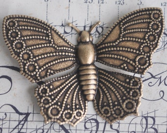Large Brass Butterfly Stampings, Brass Ox - Supplies by Calliopes Attic