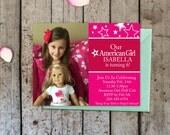 American Girl Doll Photo Invitation -Personalized Wording - American Girl Doll Invite, Doll Party Invite, Printable, American Girl Party