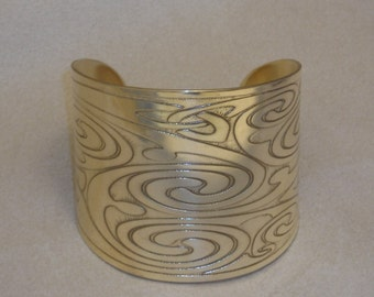 """Celtic Jewelry - Handmade Celtic Spirals and Large Knots Cuff Bracelet Etched in Brass - made for a 6 1/4"""" wrist"""