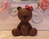 Polymer Clay Bear, Clay Teddy bear miniature, Polymer teddy bear, Whimsical Teddy Bear, Baby shower, Baby birthday figurine, Cake topper