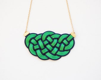 Knot necklace, green necklace, knotted necklace, satin cords necklace, nautical necklace, green and navy necklace, spring trends, gift idea