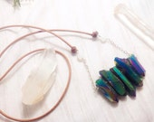 Magical Quartz Crystal Necklace - Sterling Silver and Deer Leather - Titanium Plated Quartz with Rainbow Moonstone