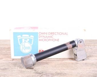 Vintage Rheem Microphone / Model 822 Omni Directional Dynamic Microphone / Antique Microphone /  Old Microphone / Retro Microphone / Studio