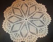"Crocheted Doily - Tan Diamonds Doily - 16"" Diameter -Table Decor"
