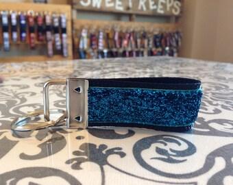 Blue Sparkle Velvet Keychain Fob