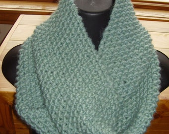 Aqua Sea Glass Colored Hand Knit Chunky Cowl Infinity Loop Textured Seed Stitch READY TO SHIP