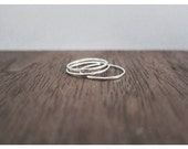 Set of Three Tiny Skinny midi rings Sterling silver stackable