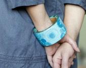 Blue bangle, wooden bracelet, rustic summer jewelry,light blue, gradient