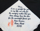 Embroidered Personalized Handkerchief for Mother's Day