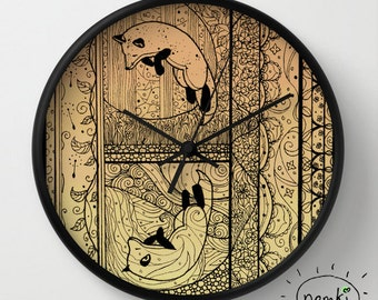 Leaping Fox Wall Clock, 10 Inch, Illustrated