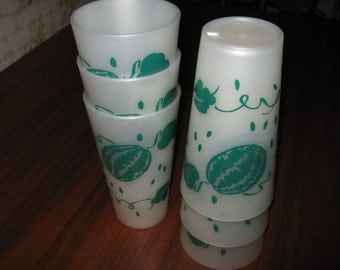 Six (6) Thermo-Serv Plastic Watermelon Tumblers