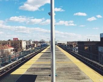 Outdoor train platform. Brooklyn, NY