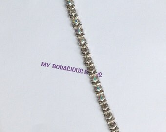 "Handmade 8.5"" Clear AB Faceted CRYSTAL BRACELET  Genuine Swarovski Crystals Silver Accents Magnetic Clasp Pure Sparkle"