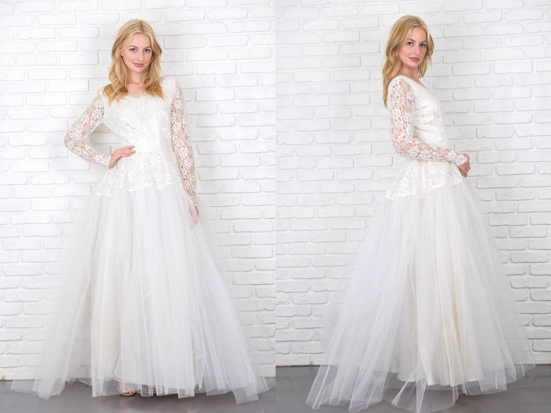 Vintage 50s Tulle Lace Floral Sheer Long Sleeve Wedding Bridal