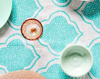 Aqua Lanterns linen tablecloth