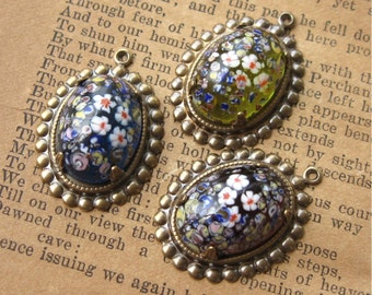 YOU CHOOSE Vintage Glass Millefiore Cab in Charm Setting Multicolor Flowers 18x13mm Oval (1)