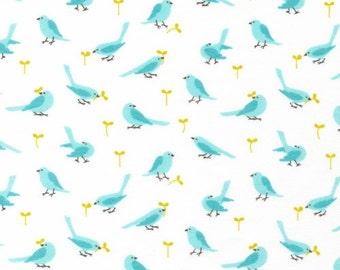 Cloud9 Organic Fabrics - Nursery Flannel - Flock Sky 1/2 YD