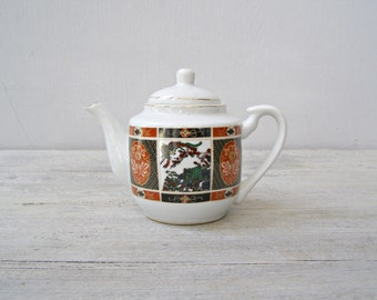 Traditional Chinese Porcelain Teapot For Two, Collectible Vintage White Black Red Green China Tableware Tea Serving Cafe Decor Transferware