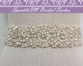 Rhinestone Bridal Sash, Rhinestone and Crystal Wedding Belt, Rhinestone Pearls Satin Sash, Jeweled Beaded Sash, Bridal Accessories - Morgan