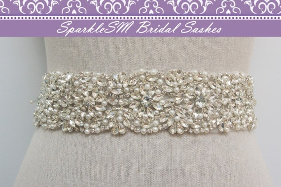 Rhinestone Bridal Sash, Rhinestone and Crystal Wedding Belt, Rhinestone Pearls Satin Sash, Jeweled Beaded Sash, Bridal Accessories - Morgan