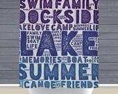 Shower Curtain: Summertime Dockside Lake House Decor | Made in the USA | 12 Hole Fabric Bathroom Decor