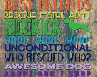 Boxer Typography Rescued Dog Wall Decor Any Breed Upon Request Product Options and Pricing via Dropdown Menu
