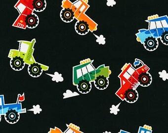 Super Speedway Trucks on Black from Robert Kaufman's Super Speedway Collection