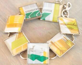 Starbucks jewelry Repurposed gift card, resin bracelet, Cityscape