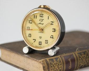 Collectible alarm clock Peace, small round mid century clock, dark brown beige shades clock, gift home decor clock