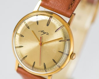 Luxury men's watch, gold plated Au10 watch, slim watch Ray, classic timepiece, shiny sleek watch, premium leather strap new