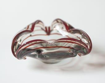 Vintage hand-blown glass ashtray, transparent ashtray burgundy stripes, 3 slot cigarette ashtray glass, home decor heavy ashtray small