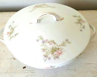 Antique Round J C Bavaria Covered Bowl Casserole Vegtable Bowl Antique Serving Floral Bowl Wedding Gift