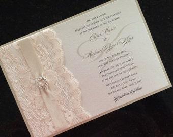 Elegant Lace, Ribbon & Rhinestone Buckle Invitation