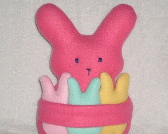 Stuffed Bunny With Babies  Soft Pink Fleece Mommy Bunny With Removable Babies In Pastel Colors