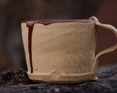 White Stoneware Wood Fired Deep Sienna Speckle Ceramic Mug with Handle