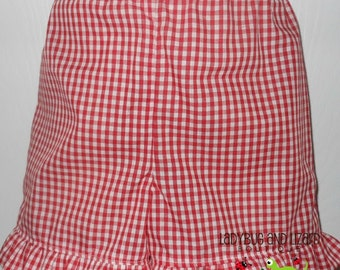 Girl's Ruffle Gingham Shorts Size 12M-18M, 2T-5T, 6
