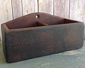 Old Wood Box With Divider Vintage Old Desk Organizer Kitchen Organizer