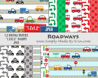 Car Digital Paper / Digital Scrapbook Paper Pack / Automobile Digital Paper / 12x12 Digital Paper Pack