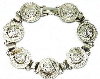 Gianni Versace, Vintage, tête de méduse, Silver, lien, bracelet, bracelet, à HauteDecades sur Etsy