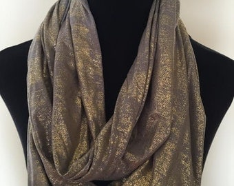New Gold and Grayish Brown Stretch Knit Infinity Scarf