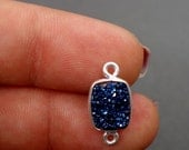 12% off Wholesale Druzy Bezel Connector Titanium treated Blue 10x8mm rectangle Station Charm Silver Plated (S41B10-07)