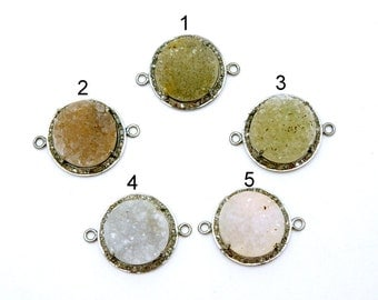Druzy Round Cabochon Double Bail Connector Charm Pendant set in an Oxidized Sterling Silver and Pave DIAMOND Bezel- YoU CHoosE (Ex19-17)