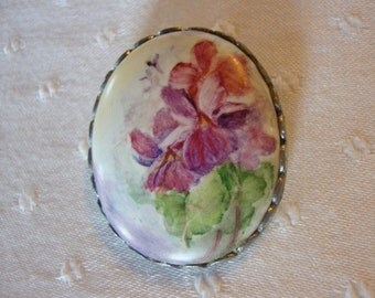 Large oval brooch hand painted flowers