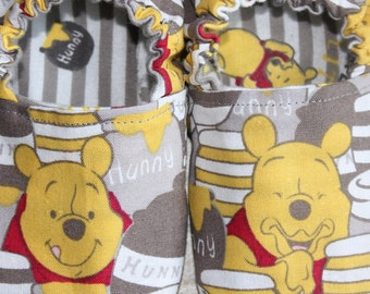 Children's Slippers, Youth Slippers, Baby ShoesMade with Winnie the Pooh Fabric