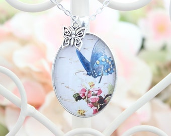 Shabby Chic Butterfly Necklace