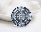 Handmade Round Photo glass Cabochons-China Flower (P2903)