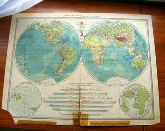 VERY LARGE Character Antique World Globe Map Earth Original vintage 1900