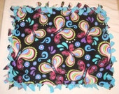 Fleece Tie Pet Blanket for Cats or Small Dogs - Colorful Butterflies with Aqua