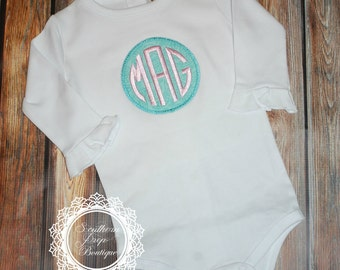 Monogrammed Circle Frame Onesie - Personalized Applique Design - Monogram - Baby Shower Gift