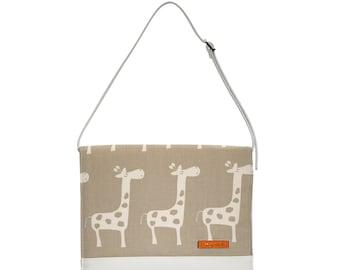 FOXY VIDA Vegan Leather Diaper Clutch SET & interior Wet Bag in Taupe Giraffe